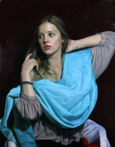 Artist: Cesar Santos (b. 1982), oil on canvas, 2014 {figurative renaissance beautiful female head torso blue scarf young woman face portrait painting #loveart} santocesar.com: