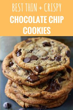 and Crispy Chocolate Chip Cookies. The perfect browned butter crispy chocolate chip cookies. How to make thin and crispy chocolate chip cookies. Chocolate Chip Cookies Rezept, Best Chocolate Chip Cookie, Chocolate Recipes, Chocolate Chocolate, Mini Desserts, Easy Desserts, Delicious Desserts, Oreo Dessert, Baking Recipes