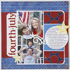 #papercraft #scrapbook #layout - #patriotic | 4th of July Scrapbook Page