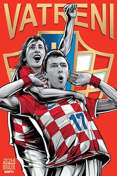 Croatia, Croazia, Vatreni (fire), Mario Mandzukic & Luka Modric, Fifa WorldCup Brazil 2014