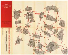 mapping the neighborhoods of a city on the ideas of the international Lettrist & Situationist movement. The map of Paris has been cut up in different areas that are experienced by the user group as distinct sets/neighborhoods. The perceived distance between these areas are visualized by spreading out the pieces of the cut up map. The distance represented does not signify the actual physical distance, but rather the perceived distance of values (social, psychological, attitudinal etc)