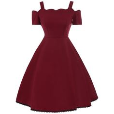 High Waist Lace Trim Vintage Dress (€16) ❤ liked on Polyvore featuring dresses, high waist dress, red dress, lace trim dress, vintage dresses and red vintage dress