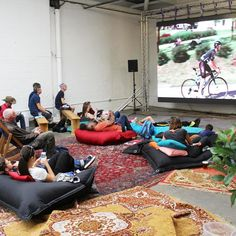 Comfy setup today to watch Giro d'Italia at @spin_2016 by trumanbrewery