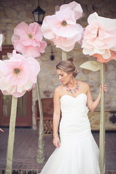 Big paper flowers as wedding prop by Christine Cater