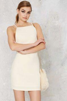 Jaquelyn Open Back Mini Dress - Winter White Ivory Dress Short, Short Mini Dress, Short Dresses, Mini Dresses, White Dress Winter, White Mini Dress, Winter White, Winter Formal, Ivory Cocktail Dress