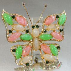 Vintage Butterfly Brooch. Regency Style. Pink. Green. by waalaa