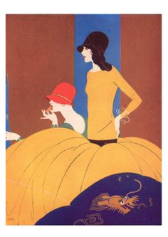 Art Deco Two Women Doing Make Up. Art Print