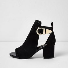 Black wide fit buckle block heel shoe boot - boots - shoes / boots - women