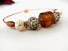 Brown & white copper bangle bracelet with bone by MadMamaMiller