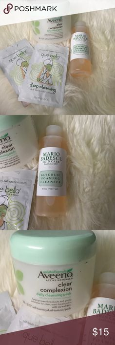Facial cleansing supplies bundle *Mario Badescu glycolic foaming cleanser 6fl oz used once   *Aveeno clear complexion daily cleansing pads used only 8 pads 20 are left   *2 que Bella deep cleansing aloe Vera cream masks both never used Other