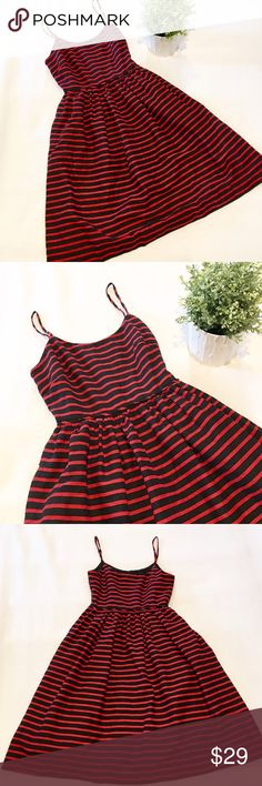 🎉 Host Pick! 🎉 J. Crew Striped Dress 🎉 Red and black striped sundress by J. Crew.  Lined, full skirt and pockets - really cute!  Size 00.  Great condition! J. Crew Dresses Midi