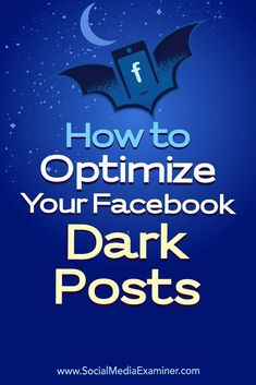 Facebook dark posts allow you to run and test content without posting that content to your pages timeline.In this article, youlldiscover how to use dark post ads to optimize your Facebook content.
