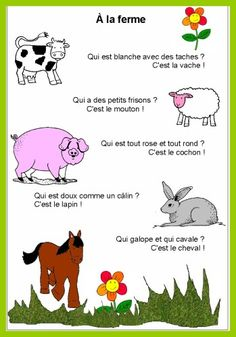 French Flashcards, French Worksheets, French Teaching Resources, Teaching French, How To Speak French, Learn French, Kindergarten Language Arts, Kindergarten Poetry, French Songs