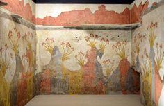 The famous Minoan Spring Fresco, Akrotiri, Thera (Santorini), 16th century BC