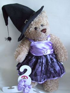 Bouw een beer fit Heks Outfit Teddy Bear Kleding - Snoep / zwart kanten jurk / Hoed