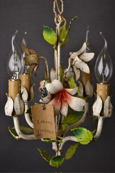 Beautiful painted toleware chandelier from france by LievreVintage