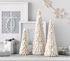 Ivory Felted Wool Cone Tree Decor A festive, new take on a holiday classic! This ivory-felted tree a Diy Felt Christmas Tree, Cone Christmas Trees, Noel Christmas, Christmas Projects, Simple Christmas, All Things Christmas, Holiday Crafts, Christmas Wreaths, Christmas Ornaments