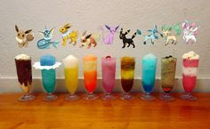 A cocktail for every Eeveelution. Credit goes to Meowpurnom on tumblr.