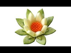 ▶ Zucchini Lotus Flower - Beginner's Lesson 48 - Mutita Thai Art Fruit Vegetable Carving - YouTube