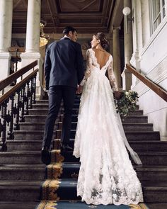 Loving the stunning low back of this white ballgown a line wedding gown! This dress is gorgeous! PINTEREST: @eva_darling