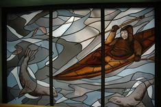 https://flic.kr/p/5LWjz2 | Eskimo man, with harpoon, water and ice, stained glass window, Alaska Pioneer's Home, Anchorage, Alaska