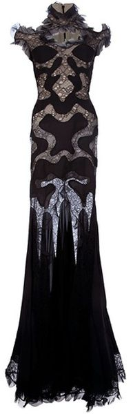 Alexander McQueen ...you saw it here first in Boo'tique seen on Heiress Daphne Guiness   Lace Panel Evening Dress