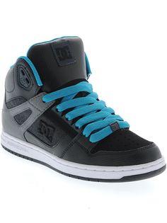 ffb96267d5c5c0 DC Black-Aqua Rebound High Womens Hi Top Shoe