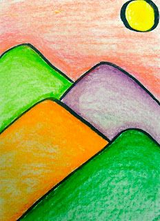 Landscapes for Kinders from Creative Art Lessons- play with unusual colors, make the sun purple and the hills orange, and the sky red