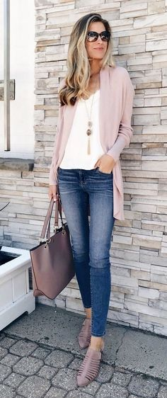 Preppy Fall Outfits, Stylish Summer Outfits, Casual Work Outfits, Spring Outfits, Stylish Clothes For Women, Dressy Jeans Outfit, Looks Jeans, Perfect Fall Outfit, Inspiration Mode
