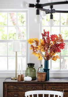 Fall Decorating in My Dining Room #fall #decor #decorating #diningroom #styling Sideboard Decor, Vintage Sideboard, Autumn Decorating, Decorating Ideas, Decor Ideas, Pitchers Of Flowers, Diy Projects Cans, Vintage Fall, Fall Candles