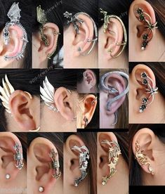 Gothic Rock Punk Temtation Metal Dragon Wing Snake Ear Cuff Wrap Clip Earring | eBay Ear Jewelry, Body Jewelry, Cute Jewelry, Unique Jewelry, Snake Ears, Dragon Ear Cuffs, Clip On Earrings, Punk Earrings, Snake Earrings