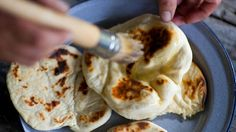 Yoghurt flatbread | Matthew Evans shares his recipe for these incredibly easy yoghurt flatbreads that take minutes to cook. Piping hot from the wood-fired oven or chargrill, they're perfect for outdoor entertaining. They can also be cooked in a chargrill pan on the stove. Lightly oil each side before cooking.