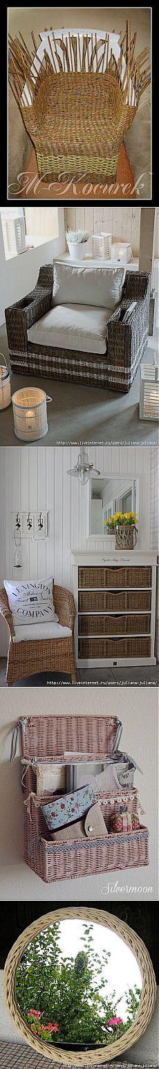 Плетение мебели из бумаги ,газет или лозы   Самоделкино