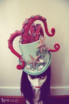 Octopus Tentacle Hat - Steampunk Victorian Masquerade Top Hat - Orange x Gold x Black - 3 to 4 Week Turnaround Halloween Chic, Looks Halloween, Theme Halloween, Halloween Costumes, Pirate Halloween, Crazy Hat Day, Crazy Hats, Costume Steampunk, Steampunk Outfits