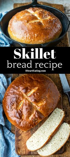 This simple recipe takes just 6 pantry staple ingredients and makes a loaf of light and fluffy bread. Healthy Bread Recipes, Zucchini Bread Recipes, Baking Recipes, Stove Top Bread Recipe, Best Bread Recipe, Skillet Bread, Skillet Meals, Vegan Baking, Bread Baking
