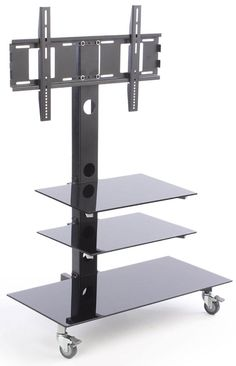 """TV Stand for Floor with Glass Shelves, Fits Monitors 37""""-70"""", Wheels - Black"""