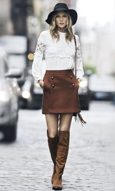 Love the skirt! Not the hat.    Karlie Kloss Embraces the 70s Trend for Express 'Wear to Work' Lookbook