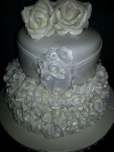 Christening cake with ruffles