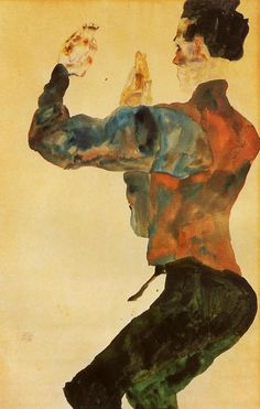 Egon Schiele - Self-Portrait with Raised Arms, Back View, 1912