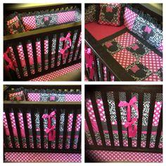 Birdie Dell custom Minnie Mouse crib bedding. Www.birdiedell.etsy.com
