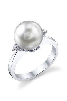 White South Sea Cultured Pearl & Diamond Camilla Ring in Gold, Women's, Size: aring-camilla-parent Pearl Jewelry, Gold Jewelry, Jewelry Rings, Jewelery, Pearl Rings, Jewelry Box, Diamond Jewellery, Pearl And Diamond Ring, South Sea Pearls