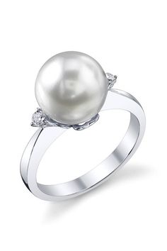 14K White Gold 10mm White South Sea Pearl & Diamond Ring