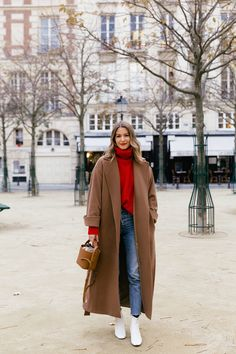 ME+EM Long Camel Coat + ME+EM Red Turtleneck Sweater + Mini Leather Bucket Bag + Leather White Ankle Boots + Celine Sunglasses via Rue Rodie // Fashion Blogger, French Girl Style, Women's Fashion, Winter Outfit Idea