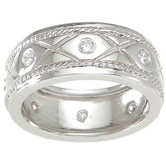Plutus Sterling Silver TGW 1/4 carat Round-cut Cubic Zirconia Wedding-style Eternity Band