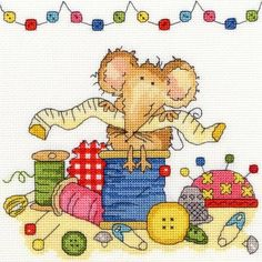 Sewing Mouse Cross Stitch Kit £19.50   Past Impressions   Bothy Threads