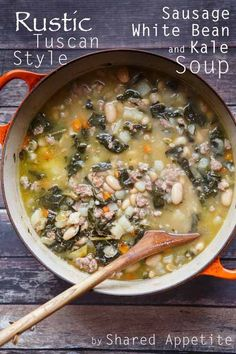 A hearty and healthy rustic Tuscan-style soup soup recipe that is quick to impress and incredibly easy to make, featuring kale, sausage, and white beans.