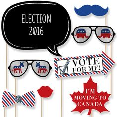 2016 Presidential Election Photo Booth Props - Election Party Kit with Mustache, Hat, Bow Tie, Glasses and Custom Talk Bubble- 20 piece set Election Night Party, Election Day, Presidential Election, 2016 Election, Primary Election, Usa Party, Big Dot Of Happiness, Patriotic Decorations, Patriotic Party