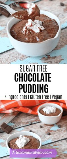 Sugar free homemade chocolate pudding with only four ingredients. An easy no bake gluten free vegan recipe perfect for kids Sugar free homemade chocolate pudding with only four ingredients. An easy no bake gluten free vegan recipe perfect for kids Dairy Free Chocolate Pudding Recipe, Chocolate Banana Pudding, Sugar Free Pudding, Sugar Free Chocolate, Chocolate Recipes, Sugar Free Desserts, Healthy Dessert Recipes, Real Food Recipes, Snack Recipes