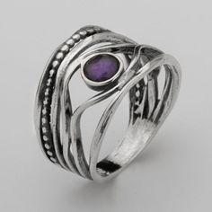 SHABLOOL ISRAEL Didae amatista plata esterlina 925 anillo Sz. 6 7 8 9