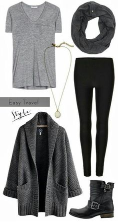 comfortable outfit - light grey tshirt, black leggings, dark grey sweater, scarf, and black buckle boots.